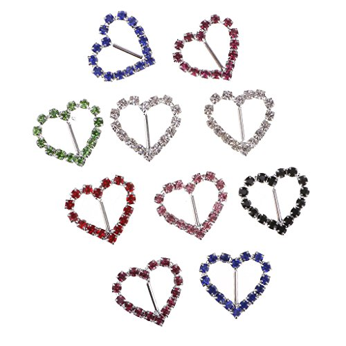 MagiDeal 20 Pieces Mixed Colors Heart Shaped Rhinestone Ribbon Buckle Slider Hair Accessories Decoration 15mm - Crystal Slider Case