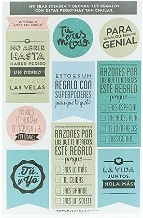 Mr. Wonderful Pegatinas para Regalos Wonder en Color, Otro, Multicolor, 20x25x20 cm, 10 Unidades: Amazon.es: Hogar