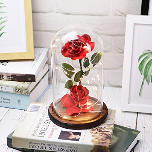 Shirt Garden Romantic (KingWo Beauty and The Beast Rose Kit, Red Silk Rose and Led Light with Fallen Petals in Glass Dome on Wooden Base for Home Decor Holiday Party Wedding Anniversary)