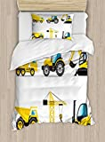 Lunarable Boy's Room Duvet Cover Set Twin Size, Cartoon Style Heavy Machinery Truck Crane Digger Mixer Tractor Construction, Decorative 2 Piece Bedding Set with 1 Pillow Sham, Yellow Grey