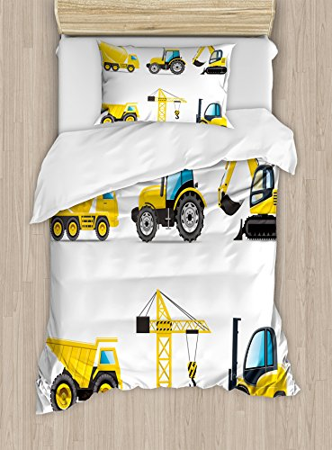 Lunarable Nursery Duvet Cover Set, Cartoon Style Heavy Machinery Truck Crane Digger Mixer Tractor Construction, Decorative 2 Piece Bedding Set with 1 Pillow Sham, Twin Size, Yellow and Grey