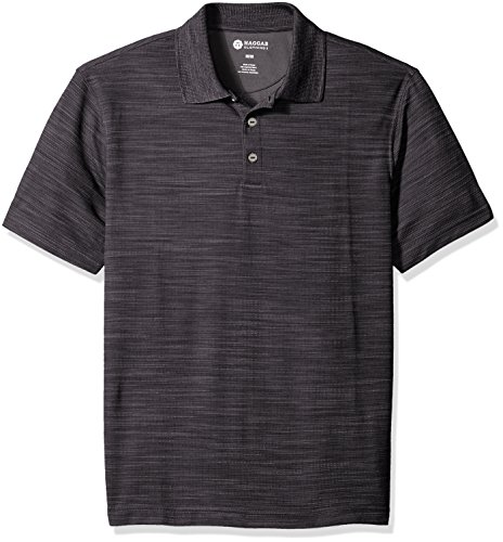 Haggar+Men%27s+Short+Sleeve+Polyester+Knit+Polo%2C+Stainless+Steel%2C+Large