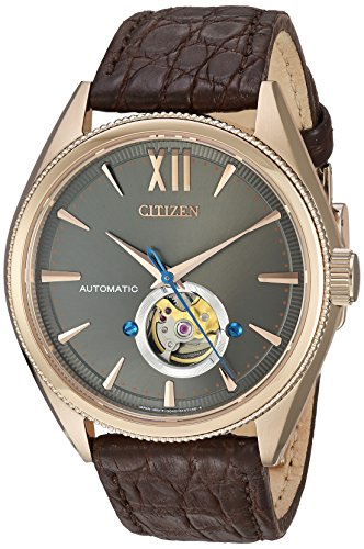 Citizen Men's The Signature Collection Gold Japanese-Automatic Watch with Leather-Crocodile Strap, Brown, 21 (Model: NB4003-01H)