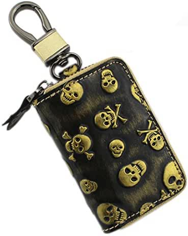 liangdongshop Unisex Genuine Leather Skull Pattern Car Key Chain Case Coin Purse with Hook