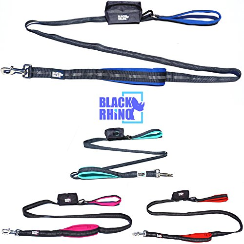 Black Rhino The Comfort Grip - Heavy Duty Double Handle Leash for Medium - Large Dogs 6' Long Dual Handle Lead for Dog Training Walking & Running Neoprene Padded Handles - Strong Rhino
