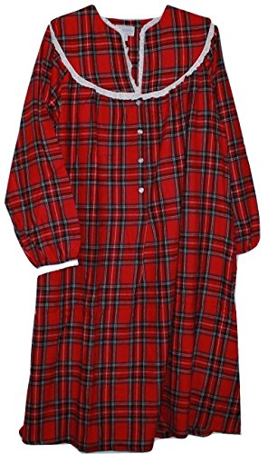 Lanz of Salzburg Women's Red Plaid Cotton Flannel Nightgown (S) ()