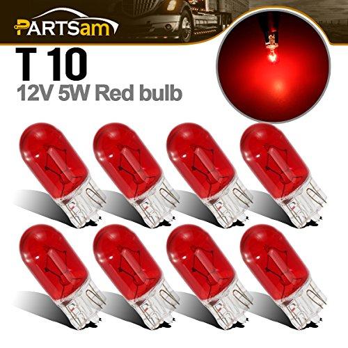 (Partsam 8pcs 194 168 Miniature Halogen Bulbs Red Glass Side Marker Red Light RV Camper 12V 5W)