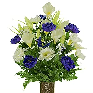 Cream Purple Peony Daisy Mix, featuring the Stay-In-The-Vase Design(C) Flower Holder (LG1947) 72