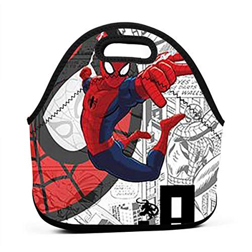 (YHHCZX Spider-Man Portable Lunch Bag Carry Case Tote with Zipper Strap Box Cooler Container Bags Picnic Outdoor Travel Handbag Pouch for Women Men Kids Girls)