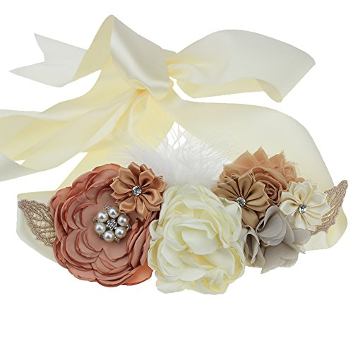 Maternity Pregnancy Flower Sash Wedding Bridal Belt Rhinestone Feather Sash Baby Shower (Leaves+tan) ()