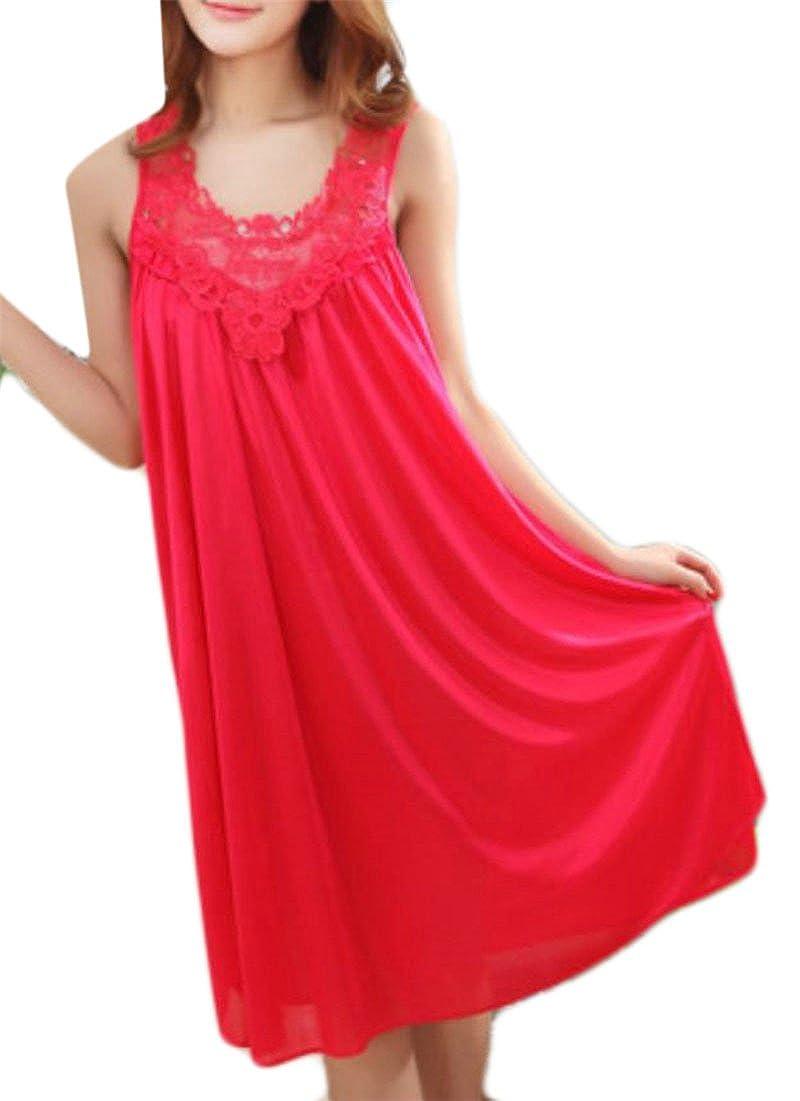 JSY Womens Loose Lace Summer Sleeveless Pleated Nightwear Nightgown