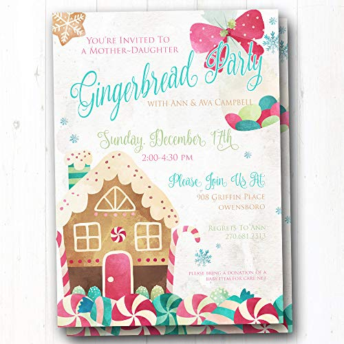 Party Gingerbread House Invitations (Kids Christmas Party Invite - Gingerbread House Invitation - Holiday Cookie Baking Party Invites - Set of 20 Printed Invites)