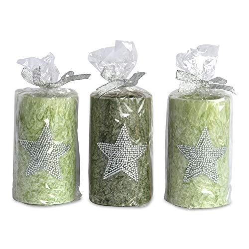 Green Star Candles, Set of 3, Bling Embellished, 3 Lush Colors, Pale, Medium and Dark, 2 1/2 D x 4 1/4 H inches, Burn Time 40 Hours Each, Wax, 100% Cotton Wick, Cellophane Wrapped, Silver Bow (Wrapped Pillar Silver)