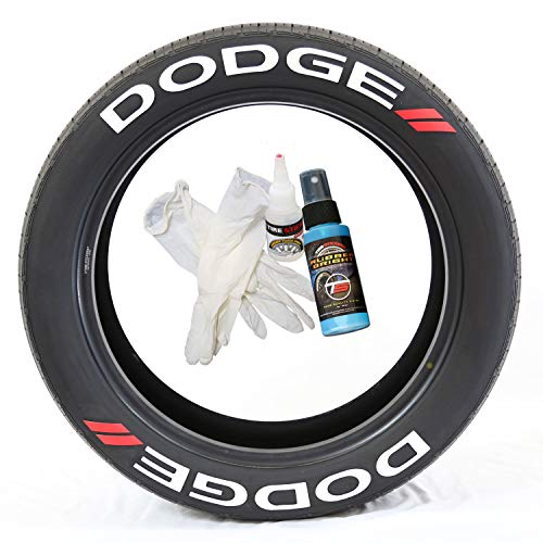 Tire Stickers Dodge // Tyre Lettering Kit - Genuine USA Made DIY Permanent Tyre Lettering with Glue & 2oz Touch-Up Cleaner / 19-21 Inch Wheels / 1.25 Inches/White / 8 Pack - Dodge Charger Tires