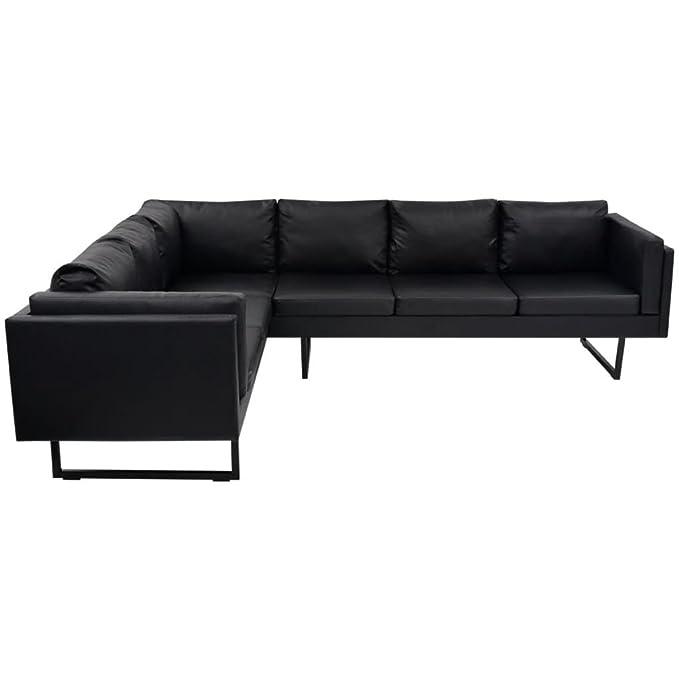 WEILANDEAL Sofa de Esquina Cuero Artificial Negro Sofas ...