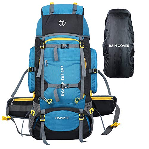 TRAWOC 80L Travel Backpack for Outdoor Sport Camp Hiking Trekking Bag Camping Rucksack HK007 (SkyBlue) 1 Year Warranty