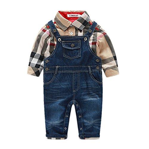 Beide Baby Boys Outfits Long Sleeve Plaid Bodysuit + Jean Pant (18-24M, Khaki)