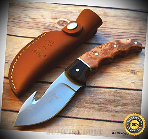 Knife Bird Hook - BURL WOOD HANDLE FIXED BLADE HUNTING SHARP KNIFE WITH GUT HOOK & SHEATH - Premium Quality Hunting Very Sharp EMT EDC
