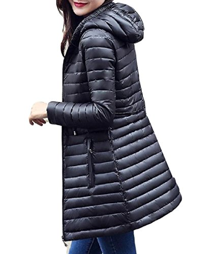 Solid Mid Down Thin Basic Black Winter Length Cotton Women Colored AGAING Hood 8vqxFvY