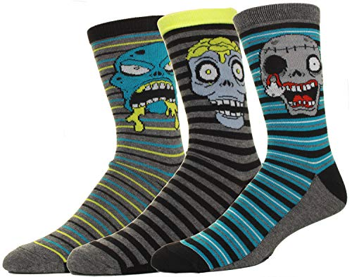 Mens Zombie Faces Crew Socks 3 Pack Great