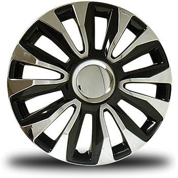 RTX, ABS hubcaps, Black & Chrome, 14, set of four, plastic clips 80-1284