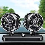 Electric Car Fan, 12V/24V 2 Speed Dual Head Car
