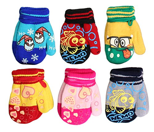 - Toddler Heavy Insulated Acrylic Mitten with Funny Characters 6 Pack