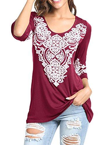 EMVANV Shift Dress, Mini Flower 3/4 Sleeve Shirts for Women Female Flowy Tunic Summer Tops Comfy Swing Dress Shirt for Work Tunic Tops,Wine Red L