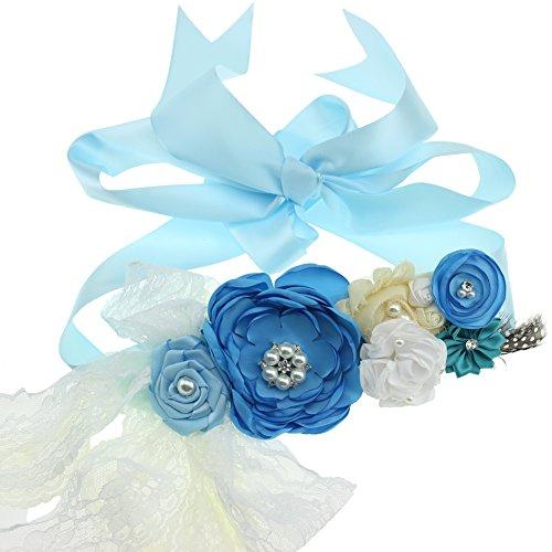 Maternity Sash Flower Belt Baby Shower Dress Accessories Bridesmaids Sash (Blue) ()