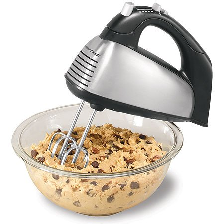 Hamilton Beach Classic 6-Speed Electric Hand Mixer with Snap-On Storage Case, Brushed Stainless, Traditional and Wire Beaters, Whisk (62650),