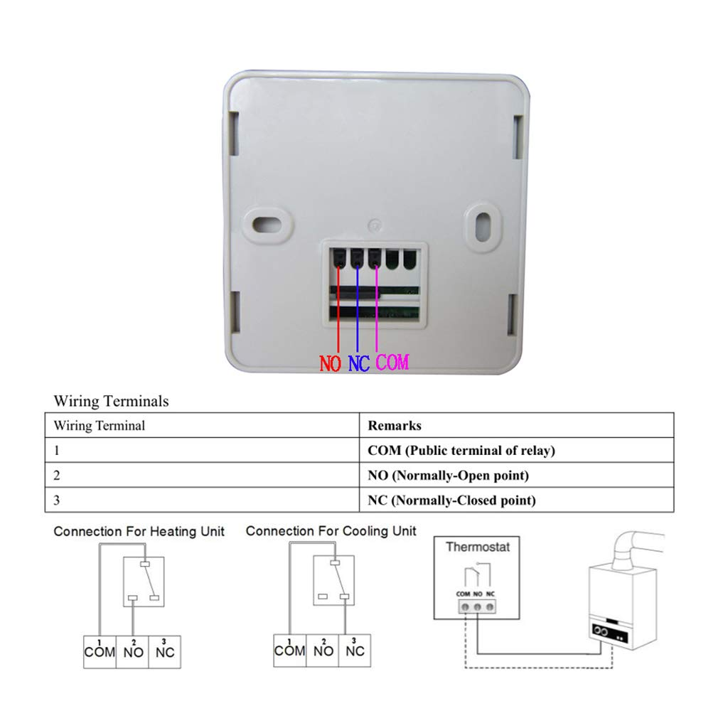 Yunawu Gas Boiler Heating Temperature Controller Programmable Relay Diagram No Nc Thermostat Wall Mounted