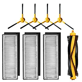 Accessory Kit Compatible with ECOVACS DEEBOT M80, M80 Pro Robotic Vacuum Cleaner – 3 Filters, 4 Side Brushes & 1 Main Brush
