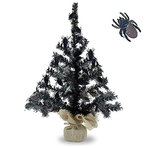 (YuQi Artificial Tabletop Black Tinsel Trees with Shiny Spider for Halloween Party Supplies, Mini Fake Branches Thine Tree with Burlap Wrapped Base for Wedding Desk Decor - 18)
