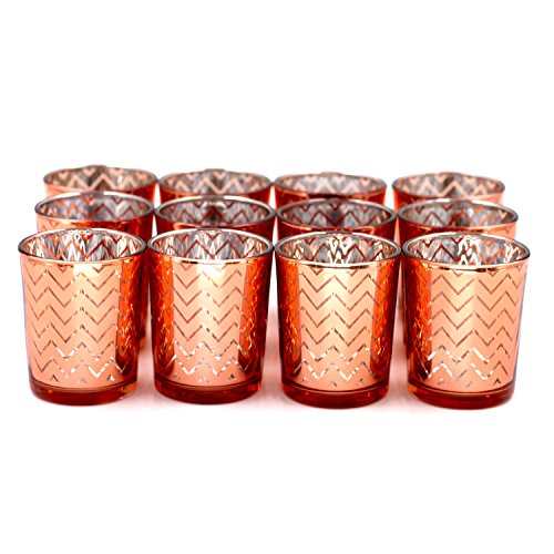 Vinnet Beauty Glass Votive Candle Holders 2.6 Inches Height (Set of 12, Rose Gold) - For Use with Tea lights, Parties, Weddings,Spa,Aromatherapy and Home Décor