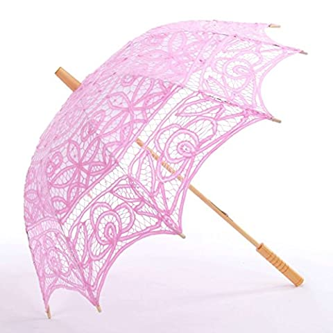 Topwedding Battenburg Lace Outdoor Wedding Parasol Bridal Shower Umbrella, Pink (Theatrical Umbrella)