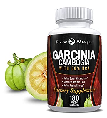 DREAM PHYSIQUE Pure Garcinia Cambogia: 100% All Natural HCA Extract - Weight Loss Supplement - Appetite Suppressant - Non GMO - 180 700mg Extra Strength Veggie Capsules (90 Day Supply)