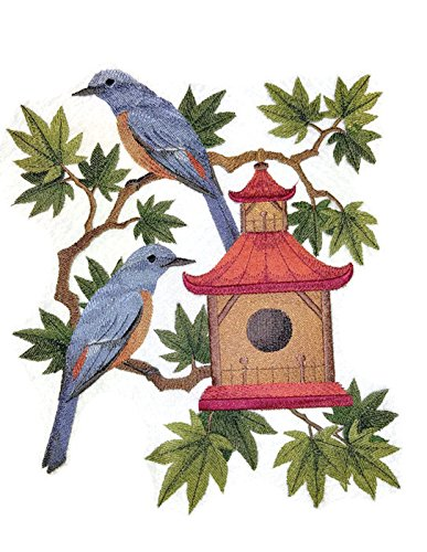 Nature weaved in threads, Amazing Birds Kingdom [ Blue Rock Thrushes and Birdhouse ] [Custom and Unique] Embroidered Iron on/Sew patch [10