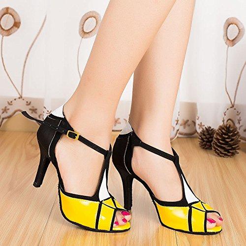 Abby By-ld018 Zapatos De Tango Latino Para Mujer Salón De Baile De La Boda 6cm / 7.5cm / 8.5cm Talón Acampanados Peep-toe Pu-zapatos De Baile Amarillo