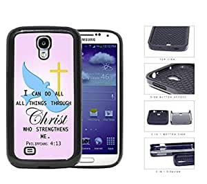 Philippians 4:13 Bible Verse with Blue Dove and Gold Cross with Pink Background [Samsung Galaxy S4 I9500] 2-piece Dual Layer High Impact Black Silicone Cover