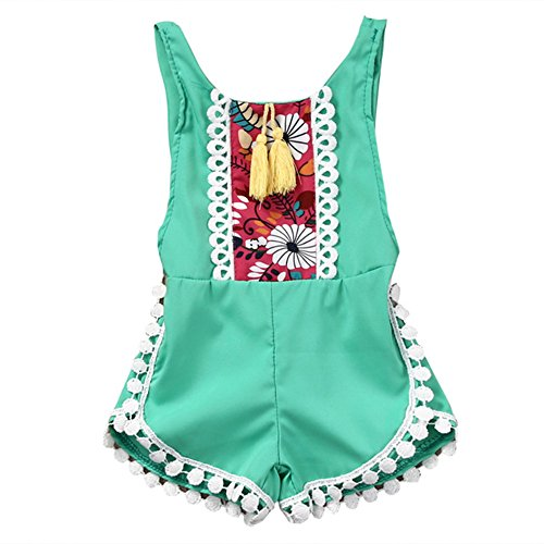 Newborn Baby Girls Ethnic Style Sleeveless Tassels Backless Floral Flower Rompers For Baby Girls with Headband 0-2T (12-18months, (Infants Bahama Sequins)
