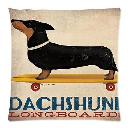 abartonartsale Fowler de perro salchicha Longboards 18 x 18 pulgadas Algodón Lino manta decorativa Funda de