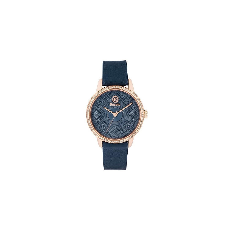 Uhr RosÉ Damen rwro06 Quarz (Batterie) Stahl Quandrante blau Armband Leder