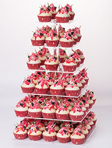 YestBuy 6 Tier Maypole Square Wedding Party Acrylic Cupcake Display Stand (Normal 6 Tier Square with Base) -