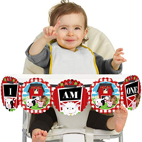 Big Dot of Happiness Farm Animals 1st Birthday - I Am One - First Birthday High Chair Banner -