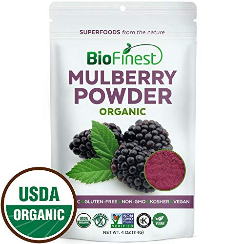 (Biofinest Mulberry Juice Powder - 100% Pure Freeze-Dried Antioxidants Superfood - USDA Organic Vegan Raw Non-GMO - Boost Digestion Weight Loss - for Smoothie Beverage Blend (4 oz Resealable)