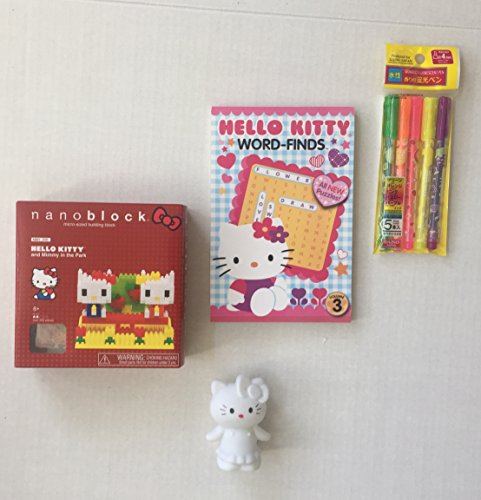 Nanoblock Hello Kitty and Mimmy in The Park, HK Word Find Activity Book, 5 Scented Fluorescent Highlight Pens Plus a LED 5 Color Changing Mood Relaxing/Nite Light Kitty Figure Toy (4 Items)