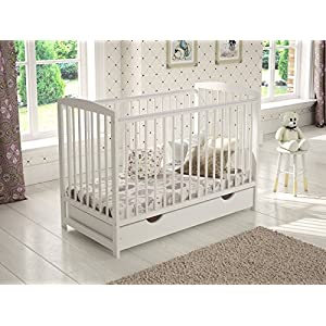Jacob Wooden Baby Cot Bed 120x60cm Free Deluxe Aloe Vera Mattress, Safety Wooden Barrier & Teething Rails (White)