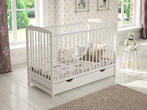 White Wooden Baby Cot with Drawer 120x60cm + Foam Mattress + Safety Wooden...