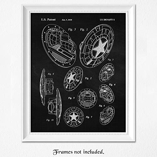 Vintage Captain America Shield Patent Poster Prints, Set of 1 (11×14) Unframed Photo, Wall Art Decor Gifts Under 15 for Home, Office, Studio, Garage, Man Cave, College Student, Comic-Con & Movies Fan