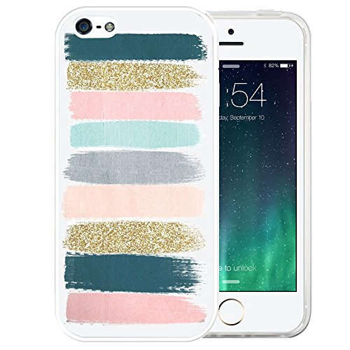 (iPhone SE Case, LAACO Beautiful Clear TPU Case Rubber Silicone Skin Cover for iPhone 5/5S/SE - Colored stripes graffiti)